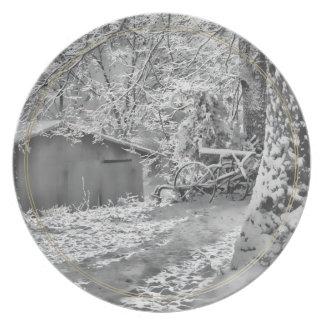 Black and White Backlit Rural Snow Scene Plate
