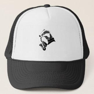 Black and White Badger Saxophone Customizable Trucker Hat