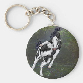Black and White Bald Face Overo Paint Horse Keychain