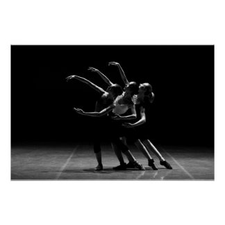 Black and White Ballet Photo of Ballerinas Poster