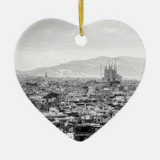 Black and White Barcelona Ceramic Ornament