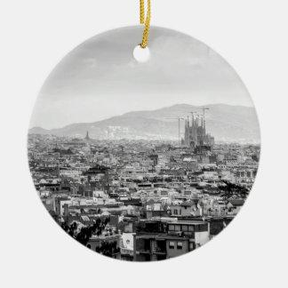 Black and White Barcelona Round Ceramic Ornament