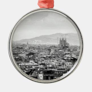 Black and White Barcelona Silver-Colored Round Ornament