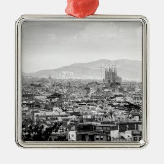 Black and White Barcelona Silver-Colored Square Ornament