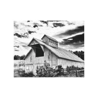 Black and white barn canvas print