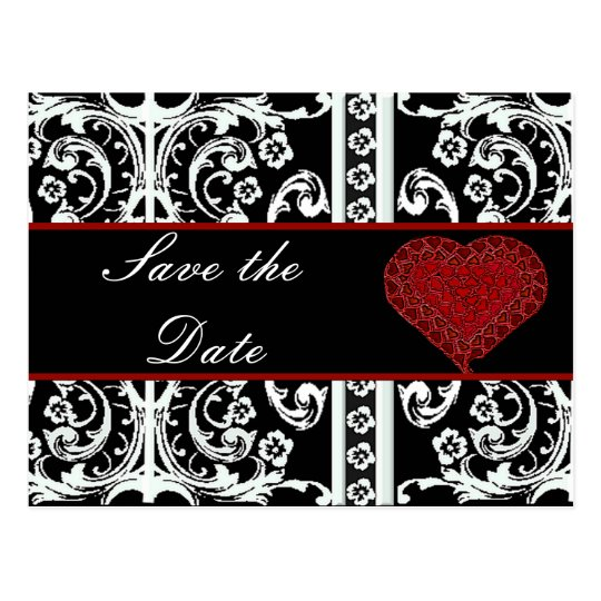 Black and White Baroque Save theDate Post Card