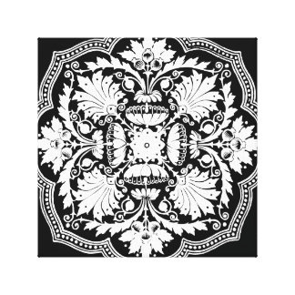 Black and White Baroque Style Pattern Canvas Prints