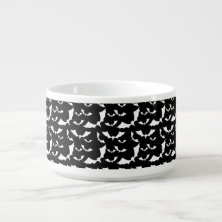black and white bats halloween pattern chili bowl