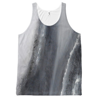 Black and White Beach Abstract Tank Top
