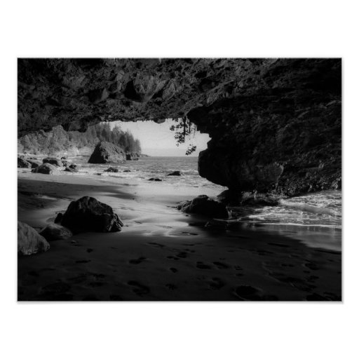 Black and White Beach Cave Poster