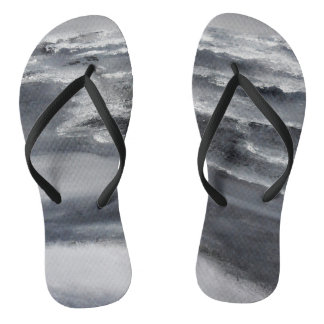 Black and White Beach Flip Flops
