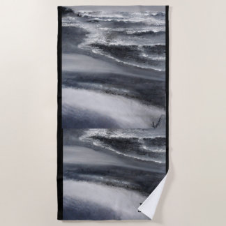 Black and White Beach Monagram Beach Towel