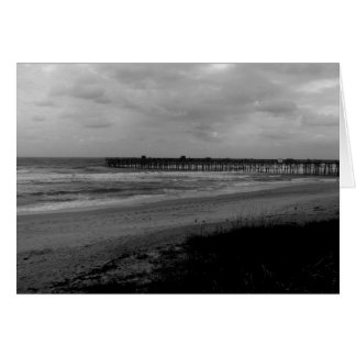 Black and White Beach Photography Card