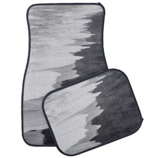 Black and white beach scenic car floor carpet