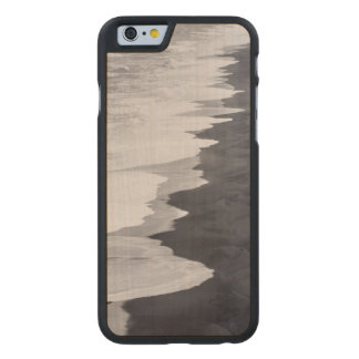 Black and white beach scenic carved maple iPhone 6 case