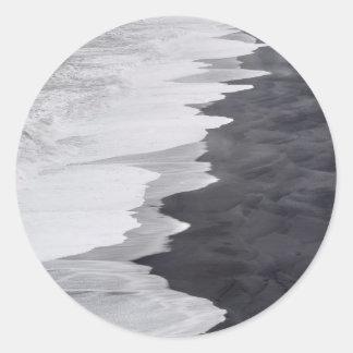 Black and white beach scenic classic round sticker