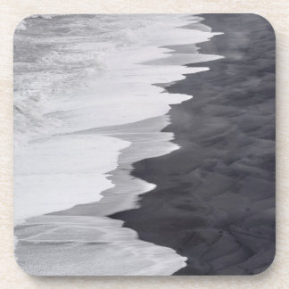 Black and white beach scenic drink coaster