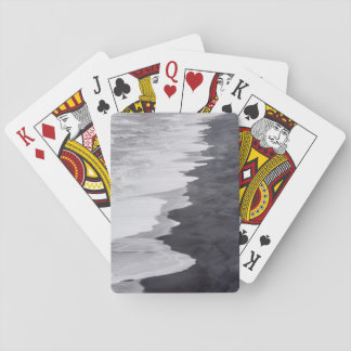 Black and white beach scenic poker deck