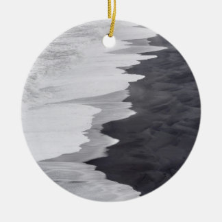 Black and white beach scenic round ceramic ornament
