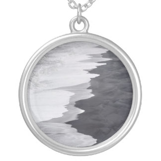Black and white beach scenic silver plated necklace
