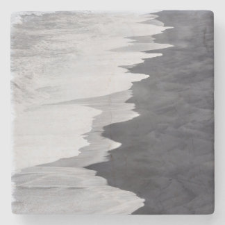 Black and white beach scenic stone beverage coaster