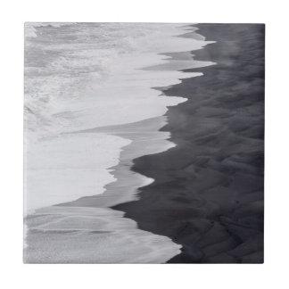 Black and white beach scenic tile