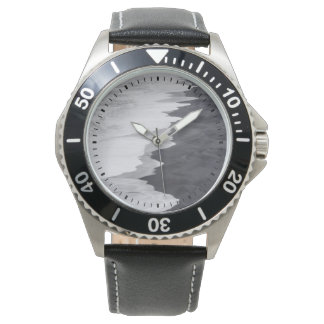 Black and white beach scenic watches