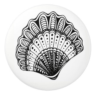 Black and White Beach Shell Drawer Knobs
