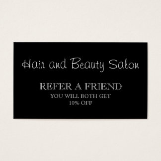 Black and White Beauty Salon Referral Card