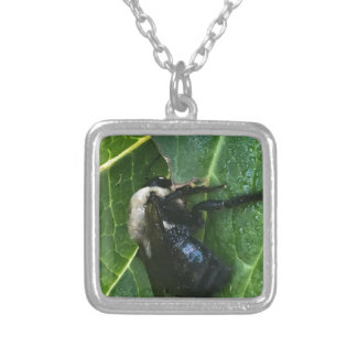 Black And White Bee Silver Plated Necklace