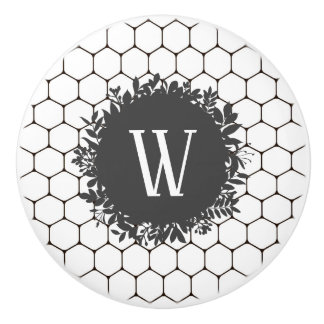 Black and White Beehive Pattern with Monogram Ceramic Knob