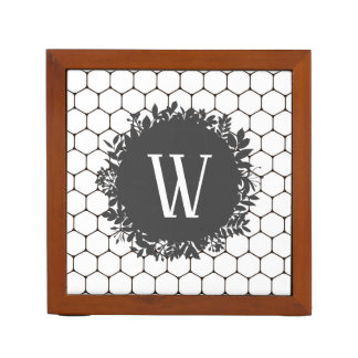 Black and White Beehive Pattern with Monogram Desk Organizer