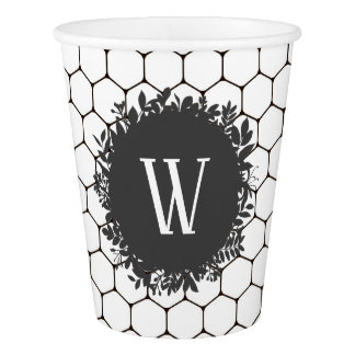 Black and White Beehive Pattern with Monogram Paper Cup