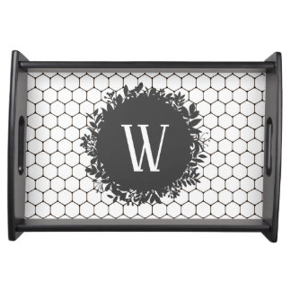 Black and White Beehive Pattern with Monogram Serving Tray