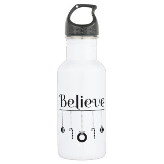 Black and White Believe Typography 532 Ml Water Bottle