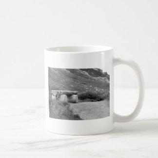 black and white bench coffee mug
