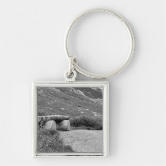 black and white bench keychain