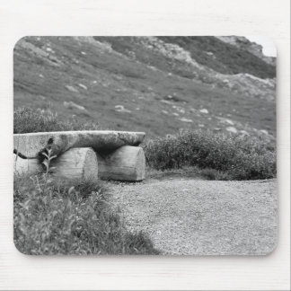 black and white bench mouse pad
