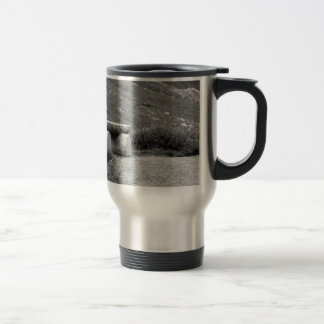 black and white bench travel mug