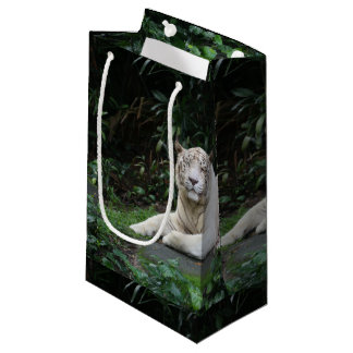 Black and White Bengal Tiger relaxed and smiling Small Gift Bag