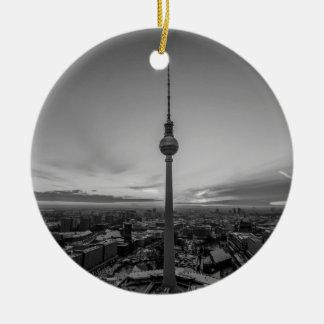 Black and White Berlin at Winter Round Ceramic Ornament