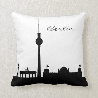 Black and White Berlin Landmark Throw Pillow