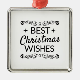Black And White Best Christmas Wishes Metal Ornament
