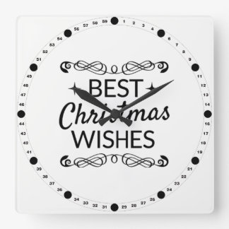 Black And White Best Christmas Wishes Square Wall Clock
