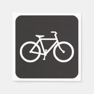 Black And White Bicycle Symbol Paper Napkins