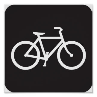 Black And White Bicycle Symbol Poster