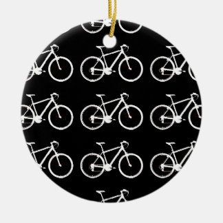 black and white bicycles patterning ceramic ornament