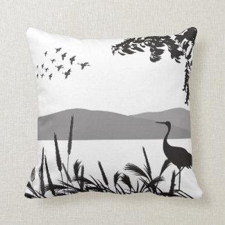 Black and White Bird Crane Flock Flying Mountains Throw Pillow