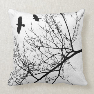 Black and White Bird Crow and Tree Silhouette Throw Pillow