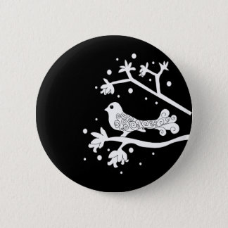 Black and White Bird on a Branch 2 Inch Round Button